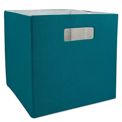 DII Hard Sided Collapsible Fabric Storage Container for Nursery, Offices, & Home Organization, (11x11x11) - Solid Teal
