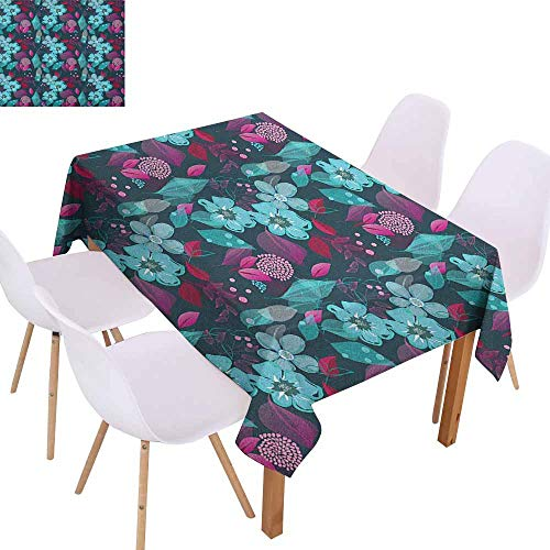 Washable Table Cloth Flower Flow of Pale Blue Blossoms and Colorful Leaves Romantic Fantasy Garden Art Pattern Washable Tablecloth W59 xL71 Multicolor