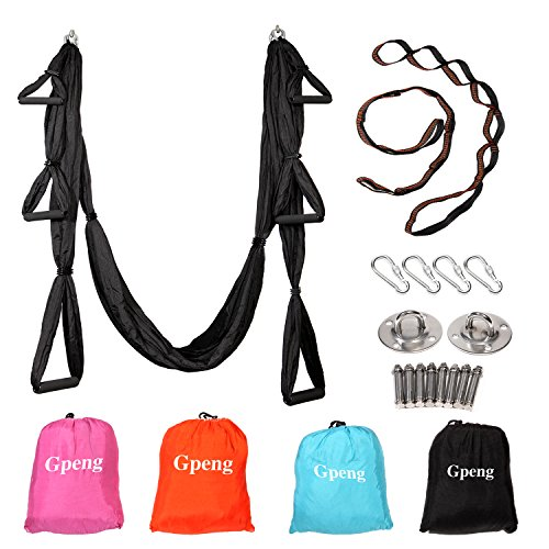 Gpeng Aerial Flying Yoga Hammock Set - Yoga Swing / Inversion / Sling Hammock with 2 Daisy Chain Adjustable Straps + All Installation Hardward + Installation Guide (Black)