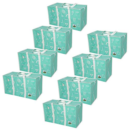 ATBAY Moving Tote Bags Extra Large Reusable Closet Organization Storage Bags with Zipper and Strong Handles for Clothes/Shoes/Blanket/Pillow,Tiffany Blue 8pack