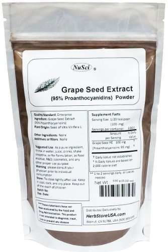 NuSci Grape Seed Extract Powder Standardized 95% Proanthocyanidins OPC (100 grams (3.52 oz)) Europe Grown GMO Free Non-Irradiated Review