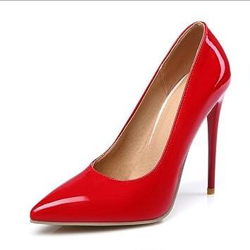 MZG Weiblich spitz hoch mit flachem Mund fein mit roten Hochzeit Schuh Patent Schuhe