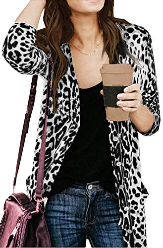 Open Front Cardigan Shirt for Women Sexy Leopard Cardigans Lightweight Button Cardigans Shirts White 2XL