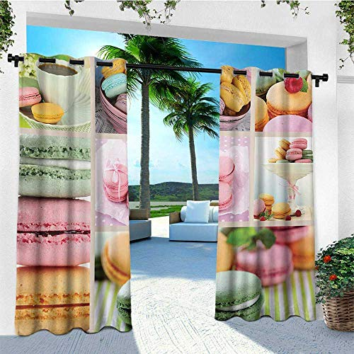 leinuoyi Colorful, Outdoor Curtain Set, Traditional French Desert Macaroons Themed Collage with Coffee Gourmet Sweet Print, for Patio Furniture W108 x L108 Inch Multicolor (French Furniture Atlanta)