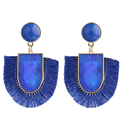 - telaite Retro Fashion Bohemian Hand-woven Tassel Geometric Earrings(Blue)