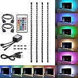 Rumas LED Strip Light Remote Controller 1.64Ft, 4Pcs 5M USB 30LEDs/5M, Adjustable Light Lamp Kit for Decor TV Mirror Living Room Hmle Dining Bar (White)