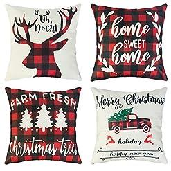 Christmas Farmhouse Home Decor Ouddy Christmas Pillow Covers 18×18 Set of 4, Farmhouse Buffalo Check Plaid Throw Pillow Covers, Winter Holiday… farmhouse christmas pillow covers
