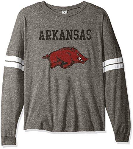 NCAA Arkansas Razorbacks Betty Long Sleeve Tri-Blend Football Jersey T-Shirt, X-Large, Tri Grey/White