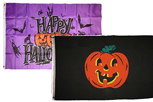 ALBATROS 3 ft x 5 ft Happy Halloween 2 Pack Flag Set Combo #25 Banner Grommets for Home and Parades, Official Party, All Weather Indoors Outdoors