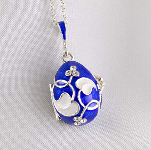Blue Locket Photo Two Picture Frames Sterling Silver Necklace for Women Guilloche Enamel White Leaves-Hearts Loving Memories Pendant