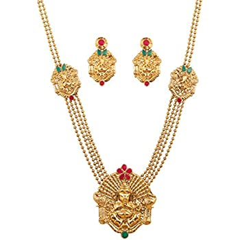 Amazon much more gorgeous gold tone temple jewelry ruby touchstone south temple collection indian bollywood ganesh deity grand temple jewelry necklace set in antique gold tone for women aloadofball Choice Image