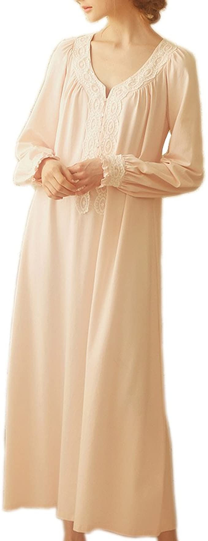 1920s Style Underwear, Lingerie, Nightgowns, Pajamas Women Victorian Nightgown Vintage Cotton Sleepwear Long Nightrobe Pajamas Loungewear $34.99 AT vintagedancer.com