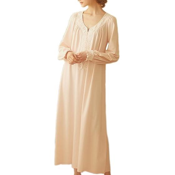 Women Victorian Nightgown Vintage Cotton Sleepwear Long Nightrobe ...