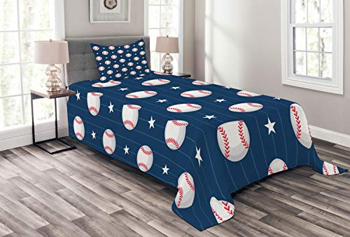 Ambesonne Sports Bedspread Set Twin Size, Baseball Patterns on Vertical Striped Background Stars Artistic Design, Decorative Quilted 2 Piece Coverlet Set with Pillow Sham, Blue Red