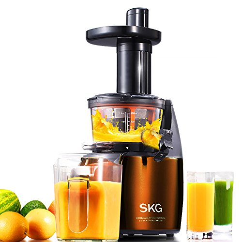 SKG Premium 2-in-1 Anti-Oxidation Slow Masticating Juicer & Multifunction Food Processor - Vertical Low Speed Masticating Cold Press Slow Juicer (150W, 65 RPMs) - Electric Food Shredder & Food Slicer