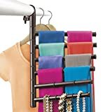 Lynk Hanging Pivoting Scarf Rack and Accessory Holder - Closet Hanger Organizer Rack - Bronze