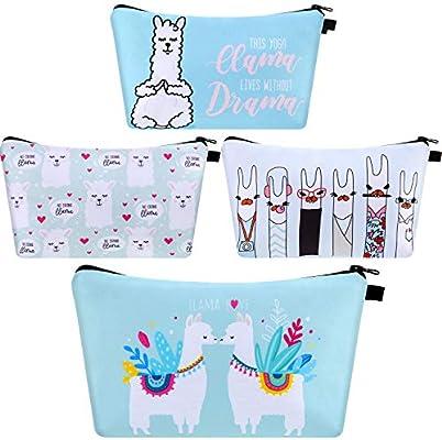 Amazon.com: 4 piezas Llama bolsa de maquillaje divertido de ...