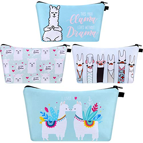 4 Pieces Llama Makeup Bag Funny Cartoon Cosmetic Bags Toiletry Handbag Waterproof Brushes Storage Pouch for Women Girls Purse (Light-colored Llama)