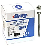 Kreg SPS-F150-500 1-1/2-Inch #6 Fine Pan-Head Pocket Hole Screws, 500-Pack