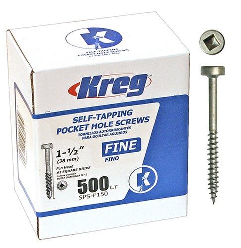(Kreg SPS-F150-500 1-1/2-Inch #6 Fine Pan-Head Pocket Hole Screws, 500-Pack )