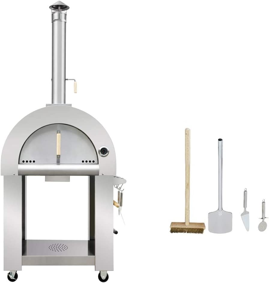 """32.5"""" Wood Fired Stainless Steel Artisan Pizza Oven or Grill, Outdoor or Indoor"""