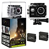 "HLS 4K Action Camera Waterproof Sports Camera 12MP Full HD 1080P Wifi Underwater Cam 2.0"" LCD Screen with Sony Sensor, 170º Wide Angle DV Camcorder Include 2 Batteries + 18 Mounting Accessories Kit HLS"