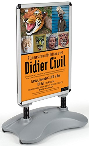 Displays2go Sandwich Board, Silver Aluminum Snap Frame and Gray Plastic Base Outdoor Sidewalk Sign (PS15C33V2)