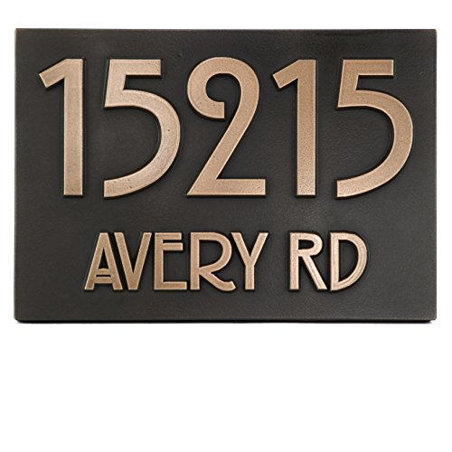 - Atlas Signs and Plaques Modern Stickley Address Plaque No Border 12.5x8.75 - Raised Bronze Coated