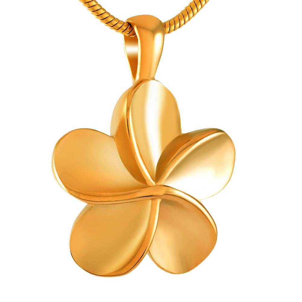 frenluy Cremation Pendant Necklace Memorial Ashes Keepsake Five Petaled Flowers Cremation Jewelry Memorial Ashes Holder Urn Pendant Necklace Keepsake Gold Pendant With Chain Coffins & Urns