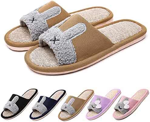 de44f2ac0 SITAILE Womens Mens Flax House Slippers Soft Breathable Lightweight Indoor Flip  Flop Flat Slide Sandals