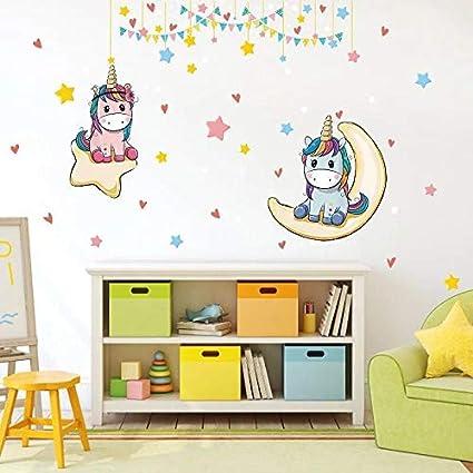 Adesivi Murali Cameretta Bimba.Kibi Adesivi Muro Unicorno Adesivi Muro Unicorno Arcobaleno