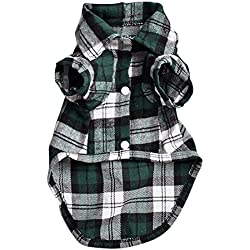 Quno Gentle Western Plaid Dog Cat Shirt Clothes Cozy Pet Costumes Green L