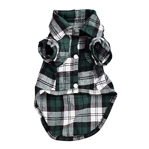 Quno Gentle Western Plaid T-Shirt Dog Polo Shirt Cat Puppy Grid Soft Clothes Leisure Cozy Pet Costumes Green L