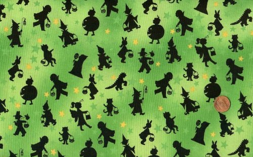 Marcus Brothers 'Tricks and Treats' Black Halloween Silhouettes on Green Cotton Fabric - 2yds 16in]()