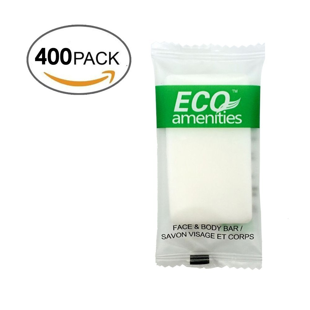 ECO AMENITIES Travel size 0.5oz hotel soap in bulk, White, Green Tea, 400 Count