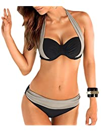 Women Straps Halter Patchwork 2 Pcs Swimsuit Set Wired Padded Top+ Bottom