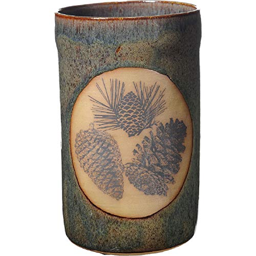 (10 Inch Tall Pinecone Utensil Holder in Seamist glaze)