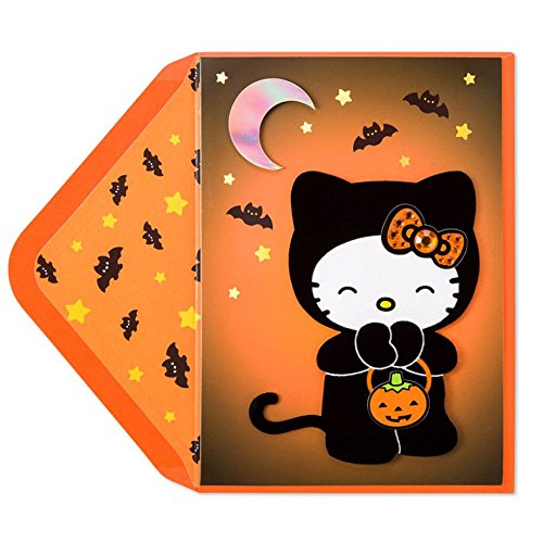 Papyrus Hello Kitty in Cat Suit Halloween Card