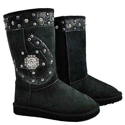 Western Peak Winter Rhinestone Horseshoe Star Concho Studded Suede Plush Fur Snow Boots (6, Black)