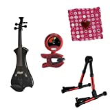 Meisel Electric Violin Pack Black w/Red Stand, Tuner &Heart Rosin