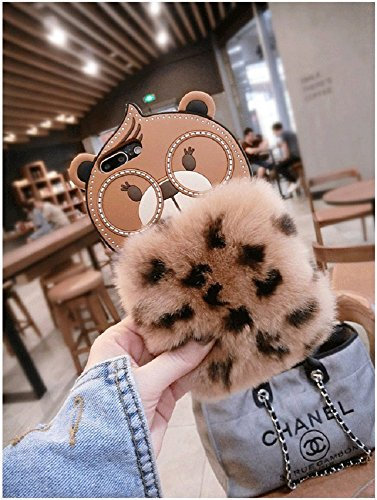 Teddy Bear Silicone - iPhone 8 Plus/7 Plus Silicone Case (5.5 inch) Soft Crystal Matte Teddy Bear with Genuine Warm Fluffy Handmade Fur for Apple iPhone 8 Plus/7 Plus (Brown)
