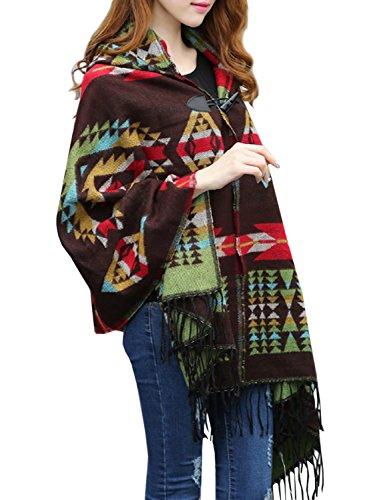 - Futurino Women's Winter Boho Jacquard Plaid Hooded Poncho Cape Coverup OneSize Coffee