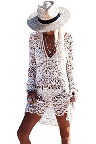 White Crochet Dress (Women Bikini Swimsuit Cover-ups Flowery Crochet Long Beach Dress)