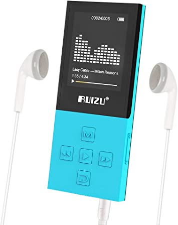 RUIZU X06 Mp3 Player with Bluetooth Mp3 Music Player with FM Radio Blue and 128GB Expandable 100hrs Playback