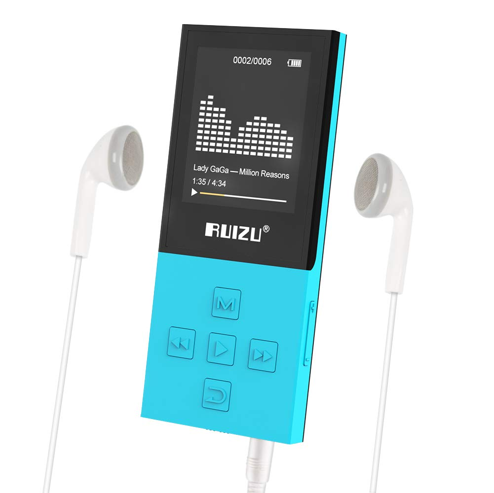 RUIZU X18 Mp3 Player with Bluetooth, Music Player with FM Radio, 100hrs Playback, and 128GB Expandable, Independent Volume Button, Blue