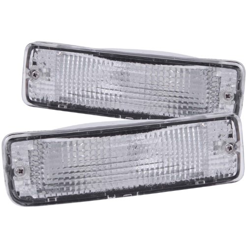 (Anzo USA 511019 Toyota Chrome Clear w/Amber Reflectors Bumper Light Assembly - (Sold in Pairs))