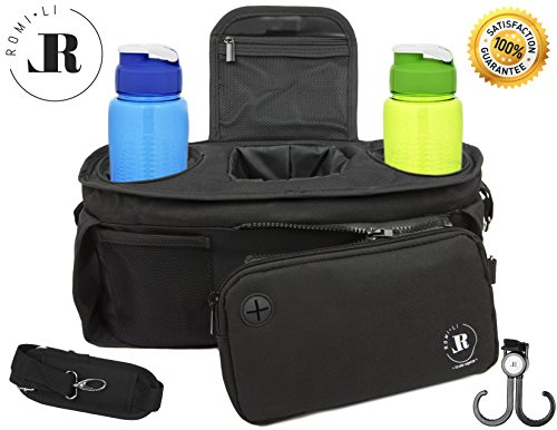 Romi-Li Universal Stroller Organizer – Designed for Convenience and Functionality – A Baby Stroller Organizer Made with Premium Quality Materials – Comes with A FREE Bonus Carabiner Hook by ROMI-LI