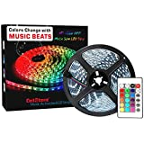 LED Strip Lights LED Lights Sync To Music 16.4Ft/5M LED Light Strip 300 LED Lights SMD 5050 Waterproof Flexible RGB Strip Lights IR Controller+12V 3A Power By DotStone