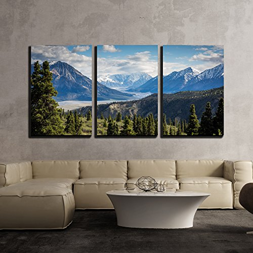Mountains Panorama Snowy Peaks and the Green Hills x3 Panels