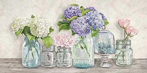 (Flowers in Mason Jars by Jenny Thomlinson Art Print, 36 x 18 inches)